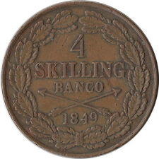 1849 Sweden 4 Skilling Large Coin Oscar I KM#672