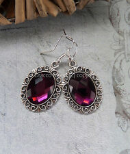 Classic Violet Purple Glass Cabochon Drop Earrings Gothic/Bridesmaid/Prom UK