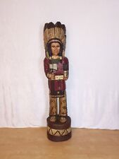 John Gallagher Carved Wooden Cigar Store Indian 4 ft.Tall very detailed