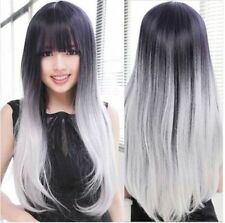 Women Lolita Hair Black/Gray/White Long Straight Wig Cosplay Anime Wigs + cap