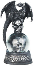 CRONIES in BLACK  Dragon on Snow Globe - Skull  Statue figurine  H7.88""