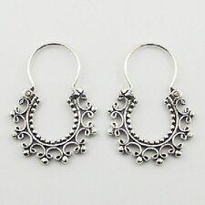 Hoop earrings Ajoure sterling silver Antiqued Bali Design Handcrafted 32mm drop
