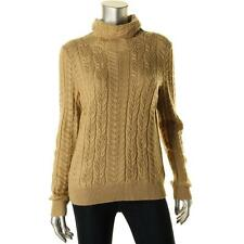 Ralph Lauren 2131 Womens Gold Cashmere Blend Turtleneck Sweater Top L BHFO