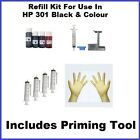 Ink Refill Kit Compatible With HP 301 Black + Col, Includes Primer Tool Save £'s