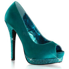 Plateau High Heels Pumps Satin Turquoise Strass Bella 12 Bordello Pleaser Gr 40