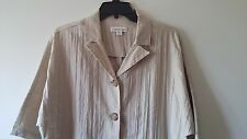 Women's COLDWATER CREEK Size 4-6 3/4 Sleeve Dorman Crinkle Jacket Solid Ivory