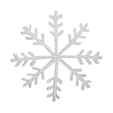 ID 8142 Snowflake White Christmas Winter Ice Embroidered Iron On Applique Patch