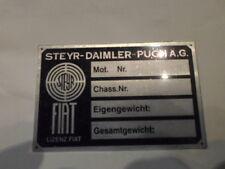Typenschild austro Steyr Daimler  Puch Schild FIAT S4 PKW