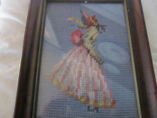 Needlepoint picture of Victorian Lady, framed. Pretty color blue.