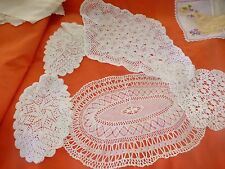 lot 5napperons faitsmain ,losanges ,coton ,crochet,aiguilles