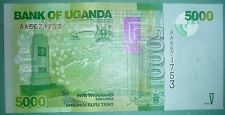 UGANDA 5000 5 000 SHILLINGI UNC NOTE FROM 2010