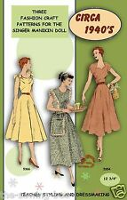"Singer Manikin doll clothes pattern 12 3/4"" No. 1 Learn to sew!"