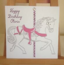 Handmade Personalised Carousel Horse Birthday Card