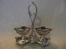 Saliere double argent minerve rocaille Debain(french silver salt cellars) 182g