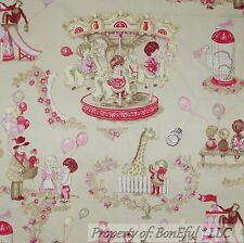BonEful Fabric FQ Home DECOR VTG Cotton Baby Central Park Circus Girl Pink Toile