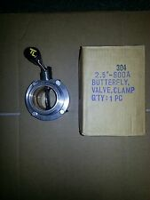 "Stainless Steel Sanitary Tri-Clamp 2.5"" Butterfly Valve"