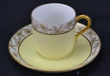 D&C Limoges Double Gold Roses Yellow Demitasse Cup and Saucer Signed SOM