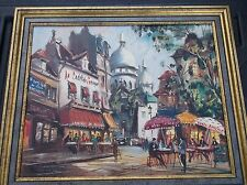 ORIGINAL FRENCH STREET SCENE OIL ON CANVAS PAINTING SIGNED MAURAND  EXCELLENT