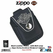 Zippo #HDPBK Black Leather Pouch w/ Belt Loop for Harley-Davidson Zippo Lighters