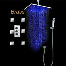 "LED Colors 16"" Rain Shower Faucet Set with 6 Massage Jets Spray Celling Mounted"