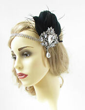 Black Silver Feather Headpiece Vintage Headband Flapper 1920s Great Gatsby 935