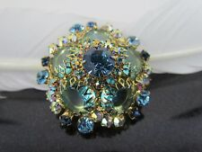 Vintage Verified Rare D&E Juliana Multicolor AB Green Blue Rhinestone Brooch Pin