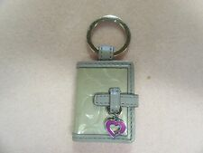 """NEW COACH LIGHT GREY PATENT LEATHER PICTURE PHOTO FRAME KEYCHAIN SIGNATURE """"C"""""""