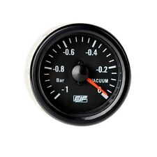 "Brand New 2"" 52mm Car Smoke Black Vacuum Gauges Meters Tinted -1~0 bar Universal"