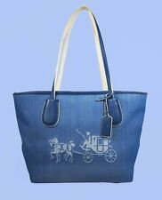 COACH 35337 Taxi Zip Emb. Horse & Carriage Denim/Chalk Canvas Tote Bag $245