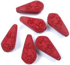 6 Cinnabar Carved Teardrop Chinese Character 'Luck'  Beads 21x13mm