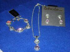 Cookie Lee Pink Genuine Crystal Teardrop Necklace, Earrings and Bracelet, NWT