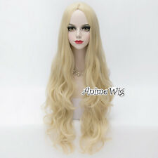 Long Light Blonde 80CM Wavy Anime Cosplay Lolita Party Heat Resistant Full Wig