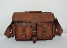"14"" Real Leather DSLR Camera Bag Padded Briefcase Macbook Satchel Messenger bag"