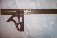 "Old Vintage 12"" Combination Square Adjustable"