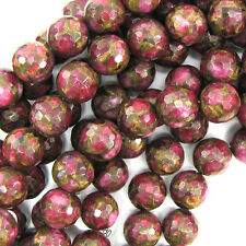 "14mm faceted ruby red pressed golden jade round 7.5"" strand 14 pcs"