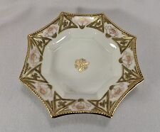 Stunning Hand Painted Nippon Moriage 8 Sided Bowl Gold Raised Paint Morimura