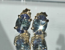 14K SOLID YELLOW GOLD 1.38ct Genuine Violet TANZANITE 7x5mm Oval Stud Earrings