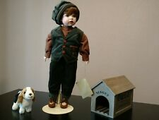 Coca Cola Heirloom Porcelain Doll Boy with Dog and Dog House.  New in box