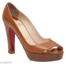 Christian Louboutin Platform Pump Tan Leather Criss-Cross Peep Toe 38