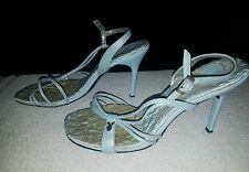 Ladies size 7 baby blue tall leather strappy sandals heels from Playboy