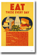 Healthy Eating Vintage WPA Food Art Print POSTER