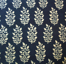 Hand Block Print, Cotton Fabric. Natural Indigo Dye