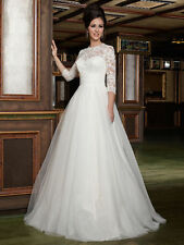 NEW 3/4 Sleeve Lace New Wedding Dress Bridal Gown Custom Size 4 6 8 10 12++ 14
