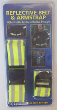 NEW HIGH VISIBILITY HI VIZ REFLECTIVE BELT & ARM STRAP SET. ROAD BICYCLE SAFETY