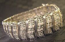 "Pretty 156 Stone Genuine Diamond Wide S Link Silver 7.5"" Bracelet Sparkly"