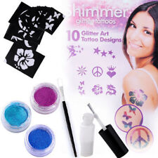 Sexy Body Art Shimmer Glitter Powders Tattoo Stencils Brushes Glues Kits Tool