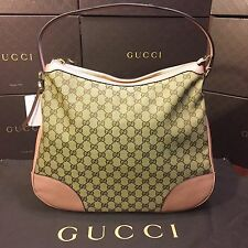 NEW Gucci Handbag Original GG Canvas Soft Pink Leather Trim And Handle