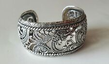Carolyn Pollack Sterling Silver Wide Band CP Cuff Bracelet 54 grams
