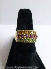 14K yellow gold Citrine, Peridot, Pink Tourmaline, and Diamond Ring - Size 7