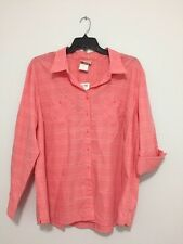Essentials by Maggie Plus Size Coral Button Down Shirt Blouse Top 26/28W NWT